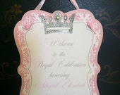 Pink Princess Crown Damask Happy Birthday Door Sign Party Decoration