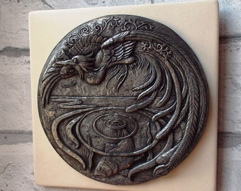 Halcyon days Kingfisher art Wall plaque Cold-cast bronze, copper or pewter. Wall art Fishing Fish Handmade in UK Gift for fisherman Wall art