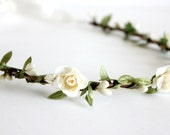 Creamy White Flower Crown, headpiece, boho headpiece, Floral Crown, floral, Bridal, spring, fall, rustic crown, wedding floral crown