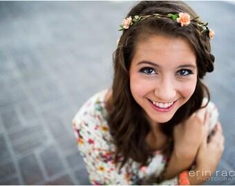 Peach Peonies Bohemian Halo. Floral Crown, Flower Crown. Woodland, Wedding. spring, summer, wedding, Hair Accessories,Bridesmaids