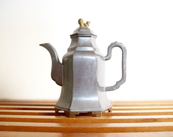 Chinoiserie Coffee Pot, Pewter, Foo Dog Finial, Vintage Teapot