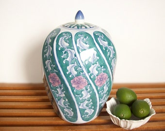 Large Vintage Ginger Jar, Blue and White, Hollywood Regency Chinoiserie Decor