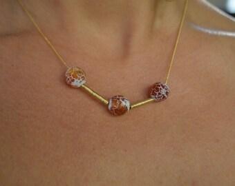 Agate Triple Stone 14k Gold Filled Choker