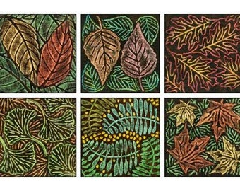 PAINTSTIK RUBBING PLATES Set of 6  in Leaves Patterns