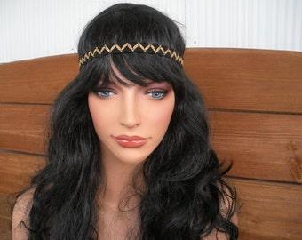 Womens Headband Boho Headband Hippie Headpiece Accessories Women Forehead Headband in Black, Gold Trim by creationsbyellyn
