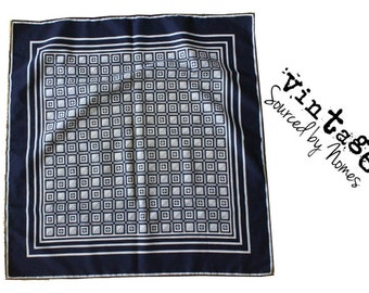 Blue and White check vintage scarf. Ships from USA