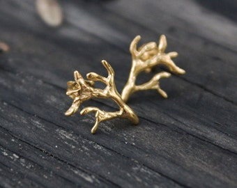 Branch stud earrings 24K goldplated sterling silver - Everyday earring, nature studs, branch jewelry
