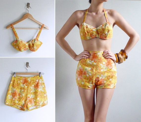 Vintage 50's 60's Pin Up Hawaiian Two Piece TORI RICHARD Cotton Swimsuit Set XS or S