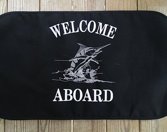 Sunbrella Welcome Aboard Boat Mat, Canvas Welcome Mat, Non Skid Canvas Boat Mat, Boat Mat, Sunbrella Canvas Welcome Aboard Dock Mat