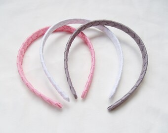 Pink, Gray, White Ribbon Wrapped Woven Headband, You Pick Color, Ballet, Ballerina