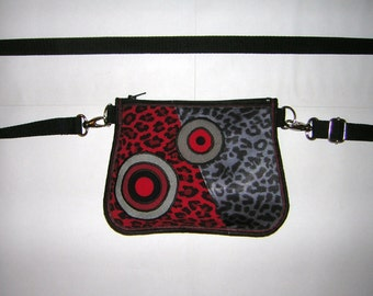 Hip Bag small belt bag Little Tote mini Purse sling Cross Body Bag wallet  wristlet mixed fabrics Leopard  in Black-Red-Gray  with circles