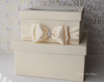Wedding Card box Gift Card Box  Money holder with the Rhinestones around the card slot - Choose your own colors