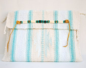 Laptop sleeve case, southwestern in mint and seafoam handmade
