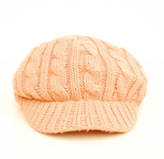 Cable knit hat, vintage slouchy style with brim tan / beige, unisex.