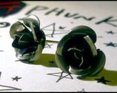 gunmetal-toned aluminum rose post earrings