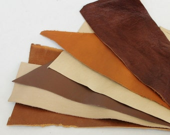 6pcs  Scrap Leather Pieces , Mixed Colors ,Shades of Brown