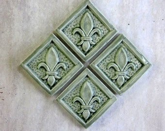 Ceramic Accent tile -- 2x2 Fleur de Lis tiles, Set of 4 in Green Tea glaze, READY TO SHIP