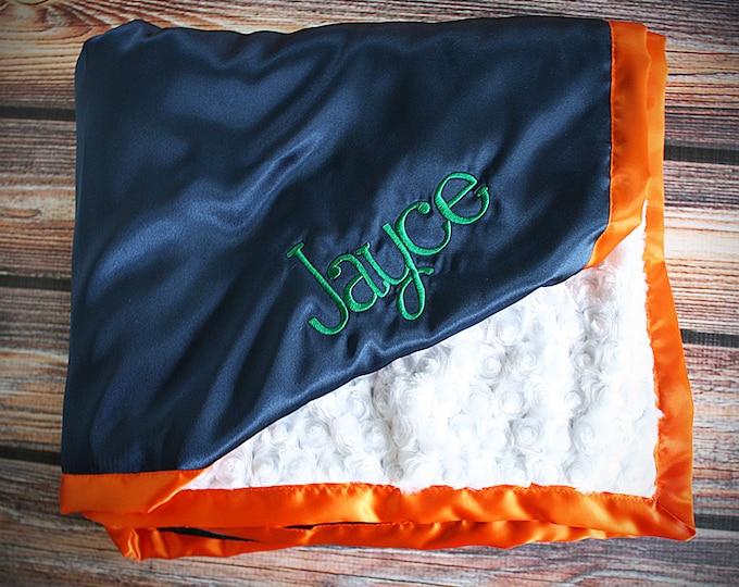 Baby Blanket, Minky blanket, broncos blanket, blue and orange minky, sports blanket, Embroidered Blanket, personalized blanket, boy minky