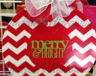 Christmas door decoration - door hanger - Merry and Bright - Chevron