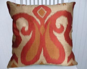 Orange Designer Ikat Pillow Cover--18x18 or 20x20 or 22x22-Robert Allen Contemporary Accent Pillow Cover-- Orange, Gold