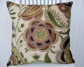 Purple Green Pillow Cover--18x18 or 20x20 or 22x22 Decorative Floral Throw Pillow in Purple, Green, Yellow, Brown