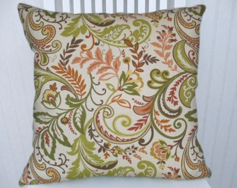 Orange Green Decorative Pillow Cover 18x18 or 20x20 or 22x22 Floral Throw Pillow Accent Pillow