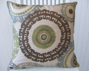Blue Brown Suzani  Pillow Cover--20 x 20 Decorative Throw Pillow--Slate Blue, Green, Taupe, Cream, Brown