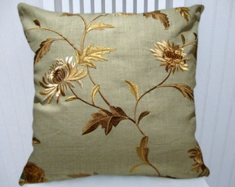 Blue, Champagne Embroidered Pillow Cover--Floral Decorative Pillow Cover, Accent Pillow Cover