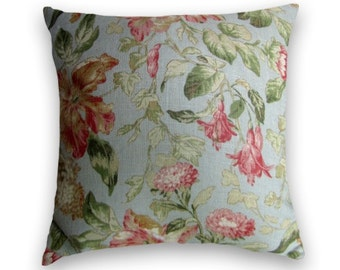 Pink, Red, Cream and Green Vintage-Look 18x18 or 20x20 or 22x22 Decorative Pillow Cover--Duralee--Floral Linen Blend.