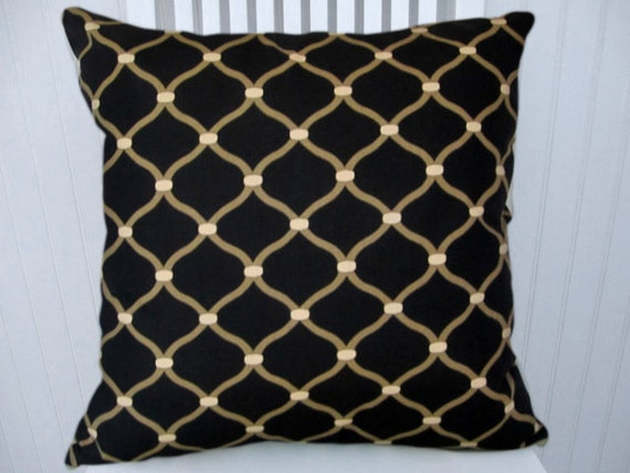 Black And Beige Decorative Pillows : Black Beige Decorative Pillow Cover 18x18 by CodyandCooperDesigns