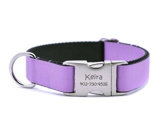 Orchid Ribbon & Webbing Dog Collar with Laser Engraved Personalized Buckle