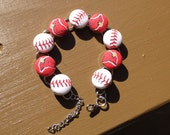 Cardinal's baseball fabric button bracelet