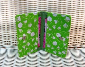 READY-TO-SHIP Business Card Holder Green Floral Design / Green Card Holder