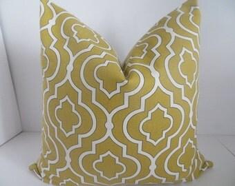 16x16 Pillow- Mustard Pillow- White - Yellow Pillow- Pillow  Cover-Dwell Studio, Trellist Pillow- Home Decor- Home Pillow