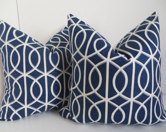 Blue Pillow Cover, Grafic Blue Pillow Cover,18x18,20x20, Decorative Pillow, White Blue Pillow, Geometric Blue Pillow, Dwell Studio fabric