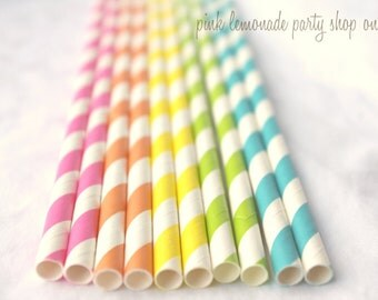 RaiNBoW Pack-BRiGHTs-  Stripes--Paper Straws--25ct with Free Printable diy Flags