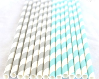 Blue & grey Stripes-Paper Straws--25ct with Free Printable diy Flags