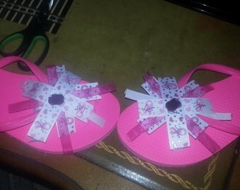 Pink breast cancer flip flops ( made to order all sizes available)