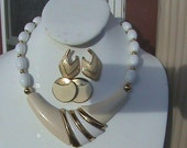 Monet Cream Enamel  Collar Necklace and 2 pairs of earnings Gold Tone