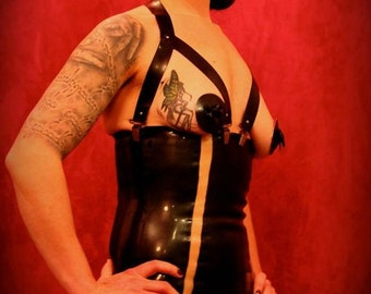 Latex girdle with bow and transparent stripe