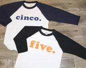 FIFTH BIRTHDAY shirt , 5th birthday - Kid's personalized NUMBER raglan baseball shirt -first, second, third, fourth, fifth, sixth, seventh