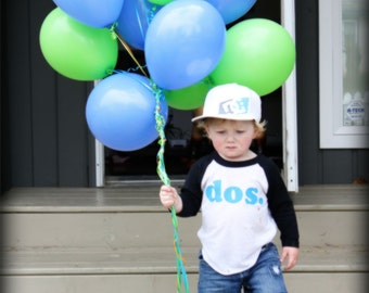second BIRTHDAY, 2nd birthday shirt , dos - Kid's personalized NUMBER raglan baseball shirt - two, second - you choose colors
