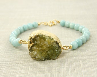 Druzy Bracelet, Amazonite Bracelet, Aqua Bead Bracelet, Semiprecious Stone Bracelet, Geode Bracelet, Rough Stone Jewelry |BC2-17