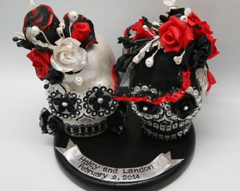 Custom made Skull wedding cake topper handmade bride and groom