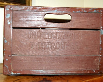 Vintage United Dairies Detroit MI Wooden Milk Crate, Vintage Wooden Milk Crate, Vintage Industrial Milk Crate from The Eclectic Interior