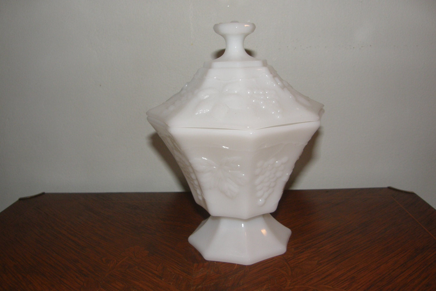 Vintage White Milk Glass Candy Dish with Lid Grapevine Design