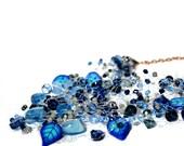 Midnight Blueberry Necklace, Beaded Flower Jewelry
