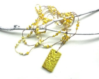 Yellow Pendant Necklace with Natural Cording -  Saffron, Olive, Gold, Tan, Brown, Neutral, Ceramic, Beaded, 3-Strand