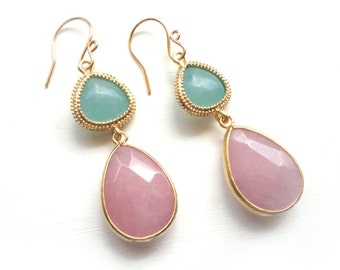 Pink Aqua Earrings with Gold Setting - Teardrop Handmade Gemstone Jewelry - Bridesmaid or Friend Gift Idea