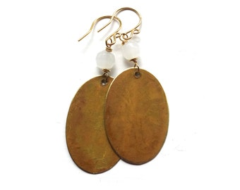 Yellow Patina Earrings - Lightweight Mustard Handmade Jewelry